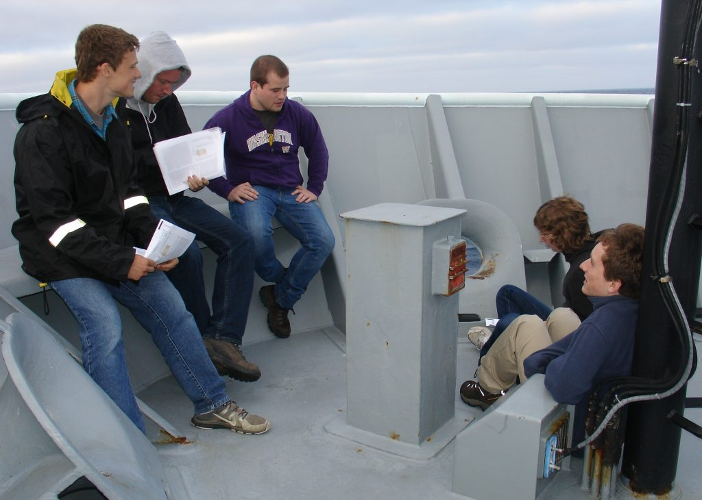 Students on VISIONS 14 Leg 1 discuss one of the readings on the bow of the Thompson.  Photo credit: Leslie Sautter, College of Charleston, V14.