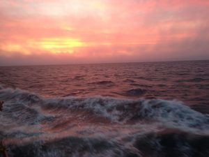 The first sunset of VISIONS '14 Leg 1 on the Strait of Juan de Fuca was one to remember. Photo credit: Christina Ramirez, University of Washington, V14.