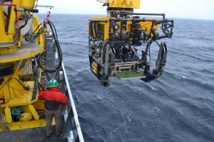 "On the transit out to Axial Volcano, a short stop was made to conduct a ""Dunk Test"" with the ROV ROPOS to ensure all was ready to go upon arrival at Axial Seamount. Image Credit: Mitch Elend, University of Washington, V14."