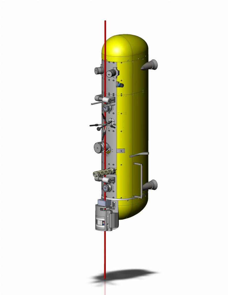 The RSN Deep Profiler (DP) system is designed to collect oceanographic data profiles in water depths of up to 3000m. The DP system includes a modified McLane Mooring Profiler (MMP) vehicle that uses a motor traction drive to profile from near the sea surface to the seafloor along a tensioned mooring cable with a subsurface float. The system's dock assembly near the seafloor includes an inductive battery-charging dock for the vehicle battery, an inductive communication system that provides communications during profiling, and a Wi-fi antenna that provides high-speed communications while in the charging dock. The dock electronics will connect to the RSN power and fiber-optic data network using ROV-mateable underwater connectors. (Illustration by Nick Michel-Hart, University of Washington)