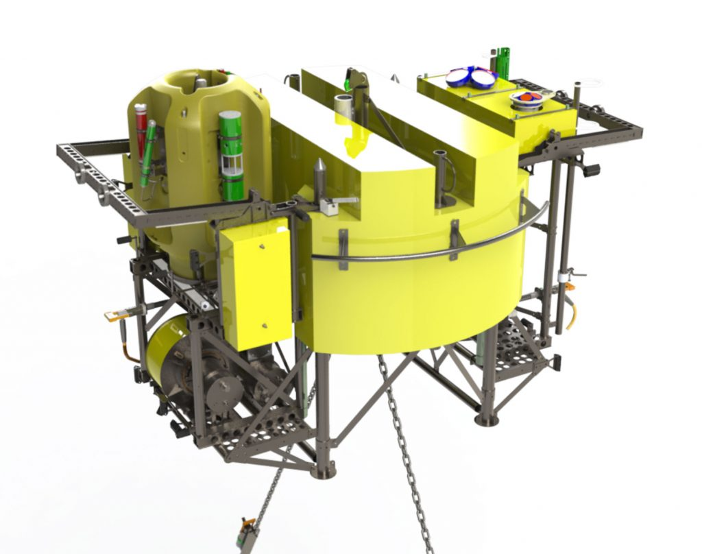 This platform at 200 m beneath the ocean's surface is on the RSN two-legged mooring. The 12-foot-across platform will host the instrumented Shallow Winched Profiler, as well as an instrument science module on the platform itself (including a digital still camera and ADCP). All data will be streamed in real-time through the seafloor cable and onto the Internet for ingestion and redistribution by the OOI Cyberinfrastructure. (Illustration by Patrick Waite, University of Washington)