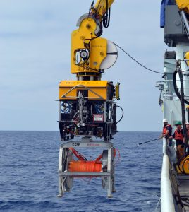 During ROPOS Dive 1611, the ROV latched into the remotely operated cable laying system (ROCLS) hosting a drum with an RSN extension cable ready to be installed. In concert, these two systems successfully installed >22,000 m of extension cables on the seafloor during the UW-OOI-NSF VISIONS'13 expedition.