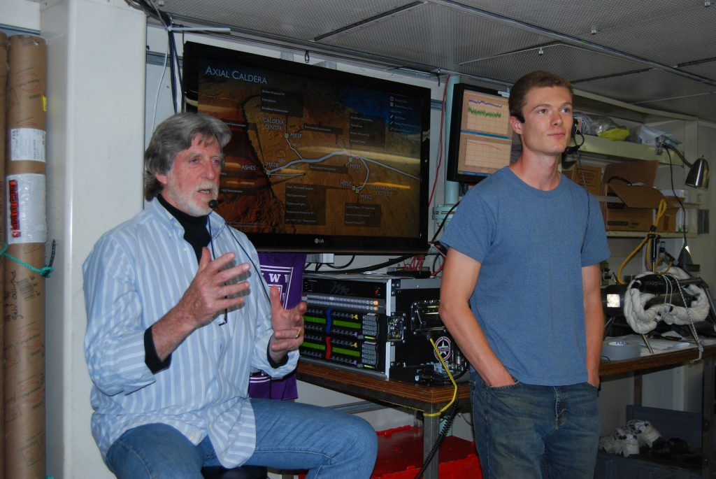 Cody gaining outreach experience during a live broadcast on the R/V Thompson during Leg 3 of VISIONS'13.