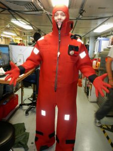 First day at the Fire and Safety drill onboard the R/V Thompson, I got to practise the 'art' of putting on a survivial suit.