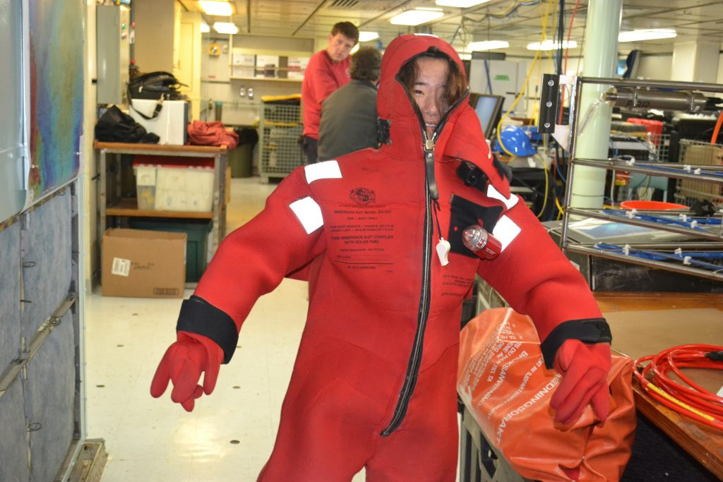 Putting on an immersion suit is harder than it seems!