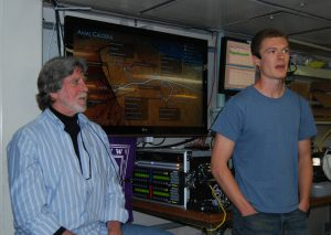 Cody Turner and John Delaney conduct a live broadcast from aboard the R/V Thompson during the VISIONS '13 Expedition, Leg 3. (Photos by Leslie Sautter)