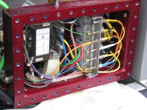 ROPOS termination box.  The fiber optical connections are in front with the BNC like connectors.