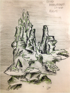 "Sketch of ""Castle"" Hydrothermal Vent (International District, Axial Seamount)  	Sketch and photo by Montgomery Taylor"