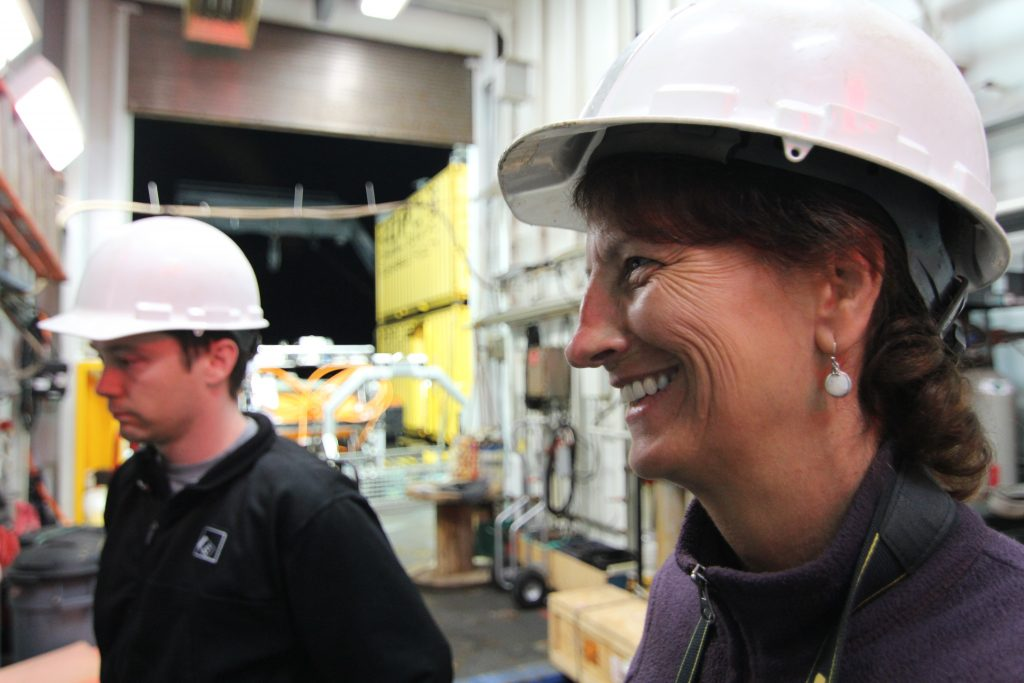 Leslie and Rick watch the first CTD cast of Leg 2. Photo by Allison Fundis