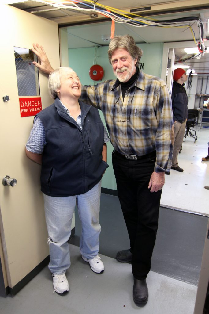 Co-chief Scientists, John Delaney and Deb Kelley enjoy a laugh (photo: Allison Fundis)