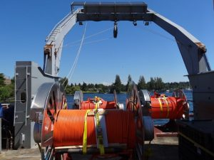 Spools of extension cables (orange) on fantail of the R/V Thompson at UW dock, Sunday, 30 June 2013