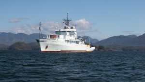The R/V Thompson holds station in Nootka Sound, an inlet on the west coast of Vancouver Island.
