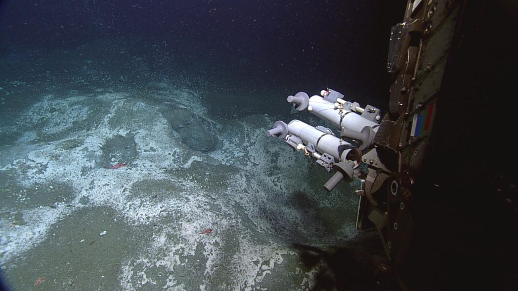 Einstein's Grotto, located at the summit of Southern Hydrate Ridge, is a main target site for installation of cabled chemical and biological sensors in 2014. The area hosts extensive white bacterial mats and was a site of vigorous venting of large methane bubbles. This image was taken in 2011, showing water sampling bottles on the arm of the Canadian robotic vehicle ROPOS.