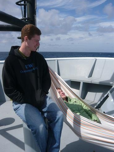 Cody and Martha enjoying the sunshine on the bow