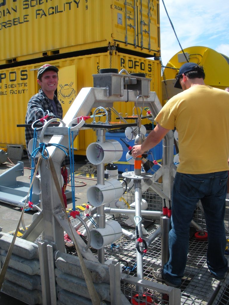 This is the cage ROPOS uses to carry instruments to and from the seafloor.