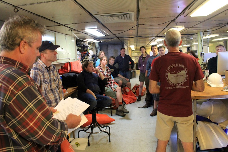 Newcomers on the ship attended a safety meeting before the transit to Axial Seamount began. (photo by Allison Fundis)