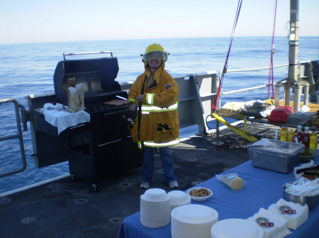 Sarah has spoiled all of us on the R/V Thompson with excellent food! and humor. Today, with calm seas and blue skies, she with help from  many of the crew took special effort to treat us to a barbacue.
