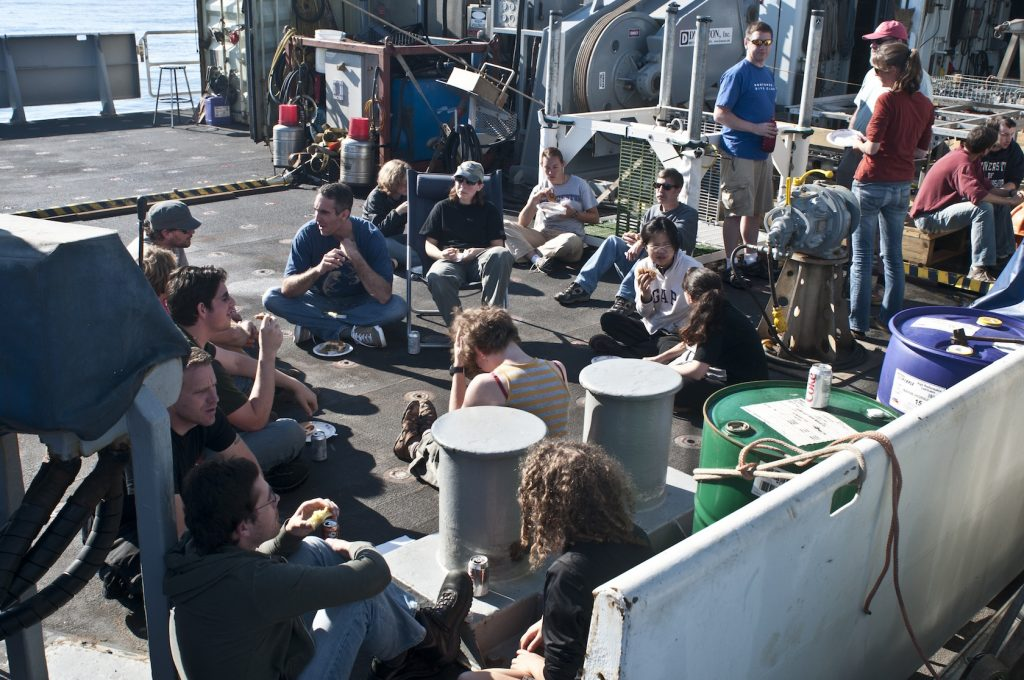 Members of the science party enjoying a BBQ for dinner. Photo by Carlos Sanchez
