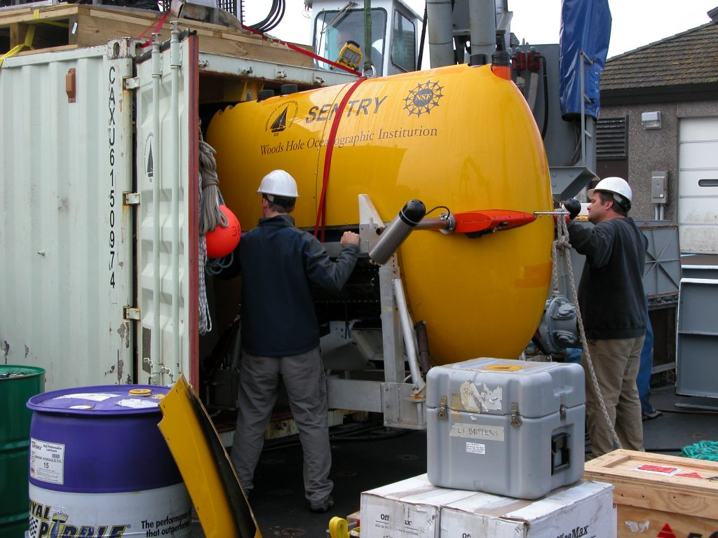 Sentry is loaded back into its van and will be trucked back to Woods Hole Oceanographic Institution.