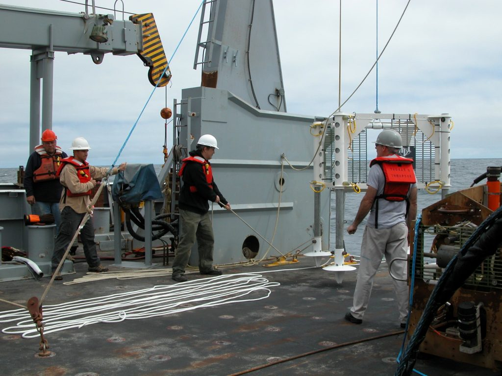 Half-size test frame being deployed off the deck of the Thompson during Enlighten 10 cruise.