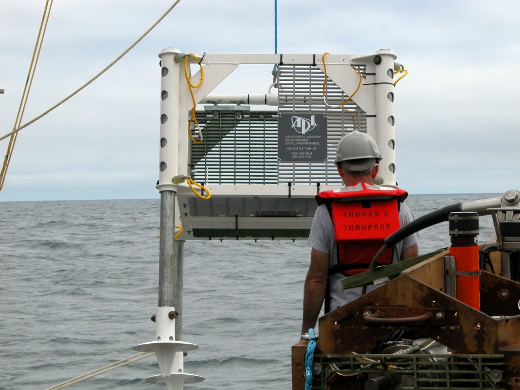 A half-scale model of a potential frame design is lowered off the R/V Thompson for deployment at Southern Hydrate Ridge using Medea and Jason. The frame is also being tested to see how different materials react to biofouling during long-duration deployments.