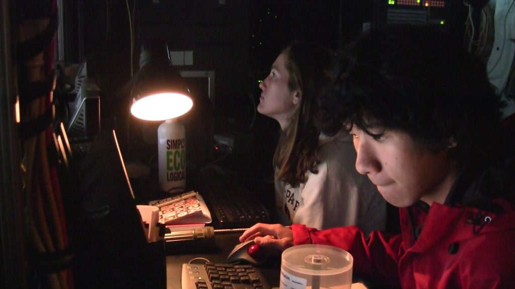 Annie and David on watch in the Jason Control Van.