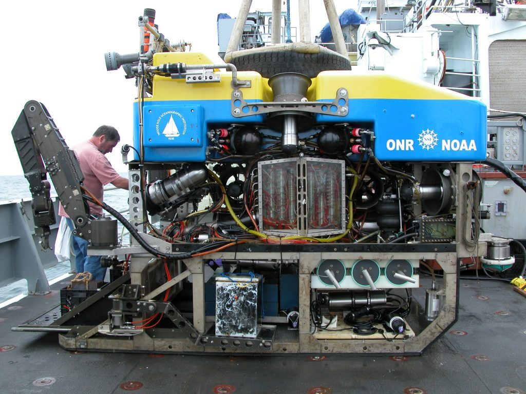 Jason gets checked over in preparation for the first Science dive at the Grays Canyon 500 m mooring site.
