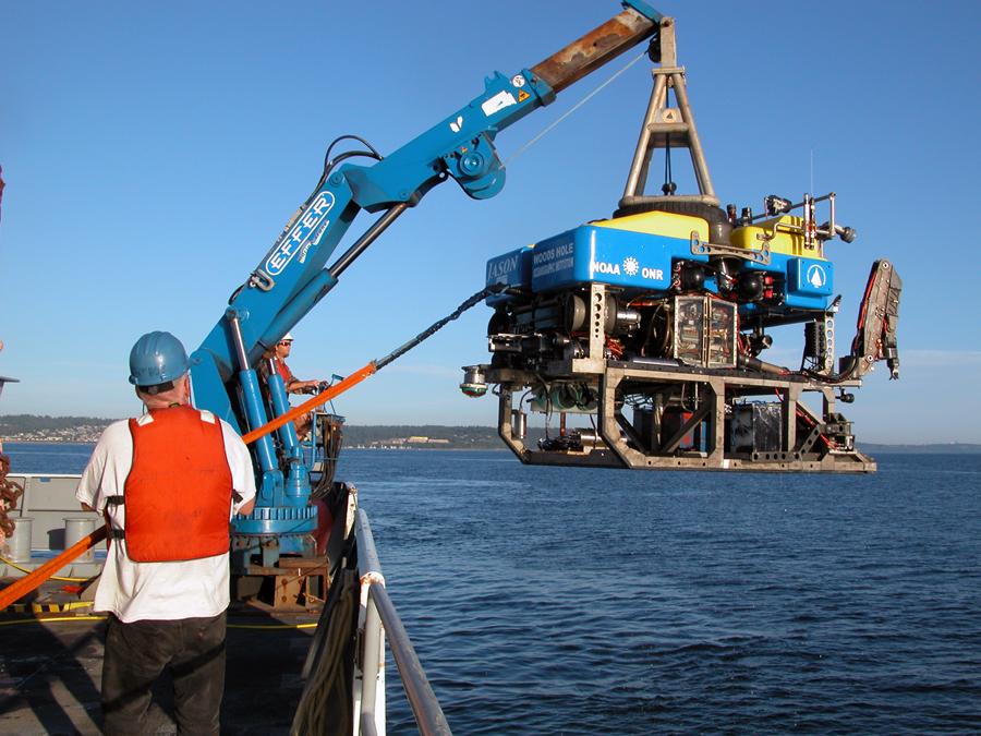 ROV Jason deployment on 26 July 2010 in Puget Sound for a test dunk.Photo taken by Mitch Elend.