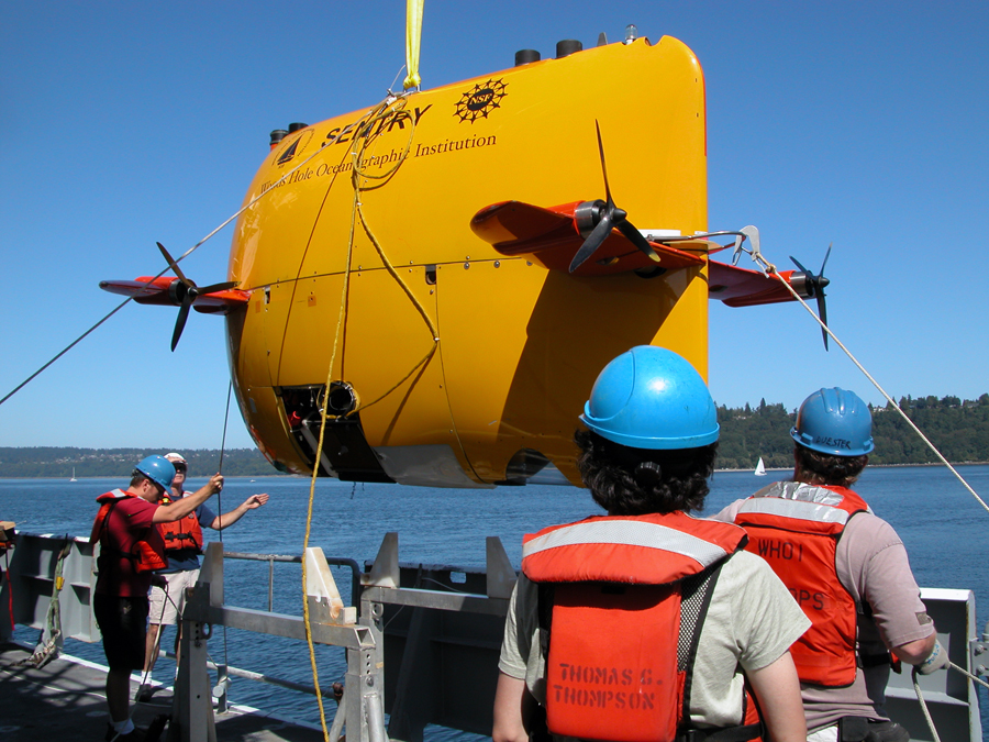 AUV Sentry deployment on 26 July 2010 in Puget Sound for a test dunk. Photo taken by Mitch Elend.