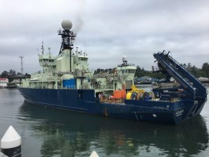 The R/V Atlantis departs Newport Oregon for a 22 hr steam to Axial Seamount
