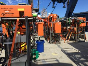 """An """"army"""" of instrumented Shallow Profiler pods await installation on moorings at the Offshore, and Slope and Axial Base sites. Credit: D. Kelley, UW, V19"""