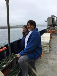 UW Research scientist Wendi Reuf and undergraduate Katie Gonzalez enjoy the scenery as we depart Newport for Leg 2 of the VISIONS19 cruise. Credit: D. Kelley