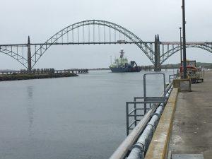 The R/V Atlantis Departs from Newport at the start of Leg 2. Credit: L. Nielson, University of Washington, V19.