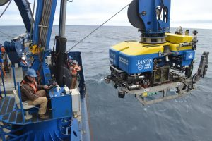 Jason just about to begin its descent on the first dive of the Cabled Array 2019 cruise. Credit. M. Elend, University of Washington, V19.