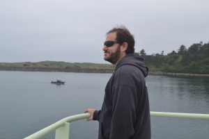 Co-Chief Scientist, Mike Vardaro, is happy to be going to sea again. Credit: M. Elend, University of Washington, V19.