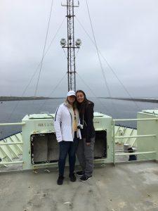 Queens College students, Lauren Schmal and Chelsea Meier start Leg 2 as he Atlantis departs Newport. Credit: D. Kelley, University of Washington.