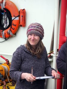 UW Research Scientist, Wendy Reuf, leads sampling of ocean water during Leg 2 of the Regional Cabled Array. Credit: Orest Kawka, University of Washington, V19.
