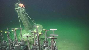 A Sunflower Sea Star (Pycnopodia) sitting atop the Benthic Observer platform deployed by Clare Reimers (OSU). Credit: UW/NSF-OOI/WHOI, V19