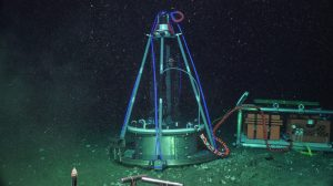 The newly deployed benthic microbial fuel cell (CH4-BMFC) on the seafloor at Southern Hydrate Ridge (770m). Credit: UW/NSF-OOI/WHOI, V19