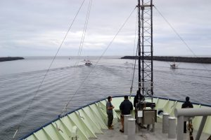 The R/V Atlantis heads out into the Pacific on Leg 4 of the Regional Cabled Array cruise. Credit: M. Elend, University of Washington, V19.