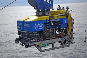 Jason being brought onboard the R/V Atlantis with the Deep Profiler safely secured onto the front of the vehicle at the end of dive J2-1186. Credit: M. Elend, University of Washington; V19.