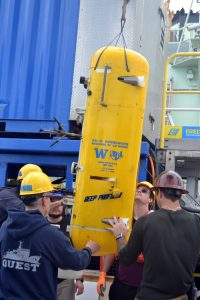 The Deep Profiler vehicle installed since 2018 at the Oregon Offshore site is recovered onto the deck of the R/V Atlantis. Credit: M. Elend, University of Washington; V19.