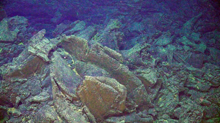 Broken basaltic lava marks a jumbled sheet flow on the east side of Axial Caldera. Credit: UW/NSF-OOI/WHOI.V20.