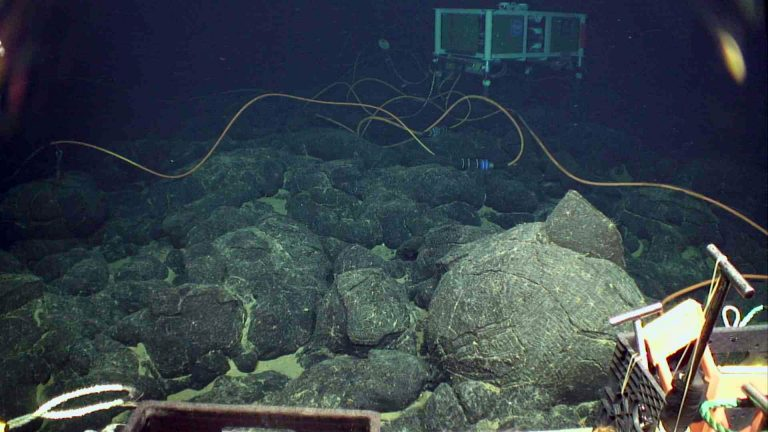 The medium powered junction box at the Eastern Caldera site sits atop lobate flows at Axial Seamount. Credit: UW/NSF-OOI/WHOI.V20