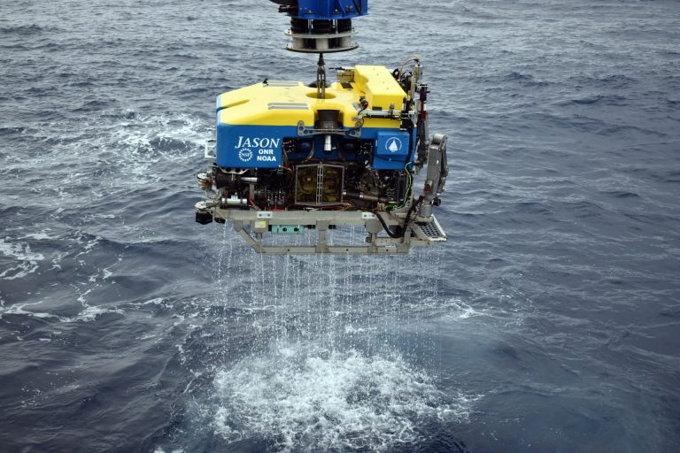 Jason emerges from a dive atop Axial Seamount (1500 m). Credit: M. Elend, University of Washington. V20