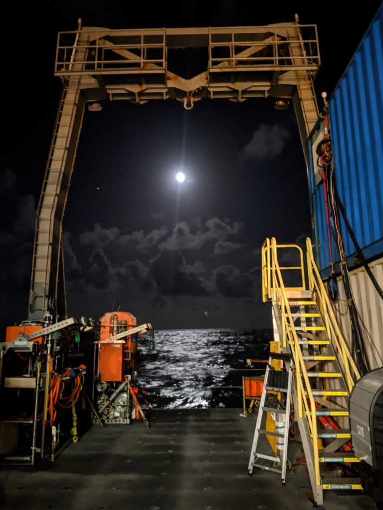 Th R/V Thompson in the NE Pacific on a beautiful evening - it's great to be a sea. Credit: I. Borchert, University of Washington, V20.