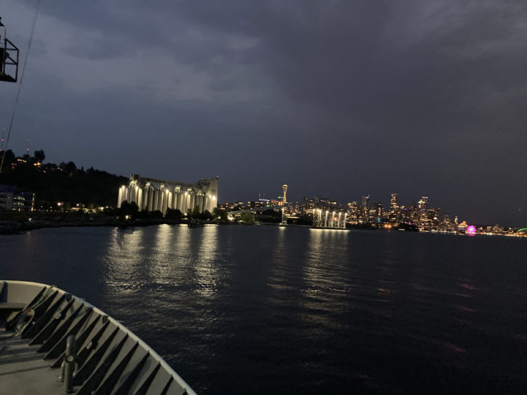 The beautiful Seattle waterfront at the beginning of Leg 1, as seen from the R/V Thompson. Credit: C. Fink, University of Washington, V21.