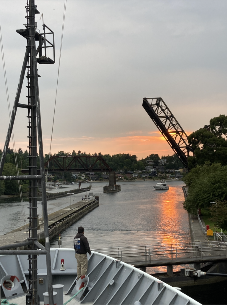 The Thompson is met by a beautiful sunset as it heads out of the Ballard Locks to begin Leg 1 of the RCA VISIONS'21 expedition. Credit: C. Fink, University of Washington V21.