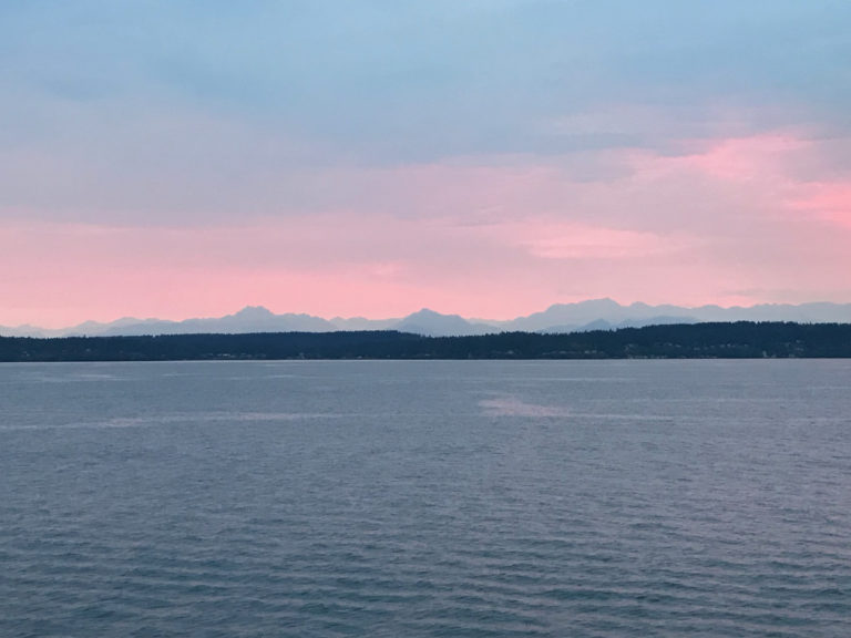 A beautiful night to sail up the Salish Sea on the R/V Thompson at the start of Leg 1 for the RCA 2021 expedition. Credit: J. Winter, University of Washington, V21.