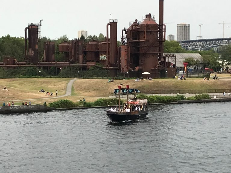 A pirate ship greets the R/V Thompson off of Gas Works Park. Credit: J. Winter, University of Washington, V21.